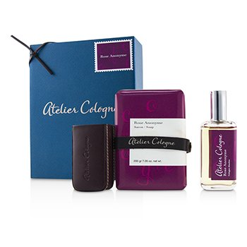 Zestaw Rose Anonyme Coffret: Cologne Absolue Spray 30ml/1oz + Soap 200g/7.05oz + Leather Case for Cologne Absolue Spray 30ml/1oz  3pcs