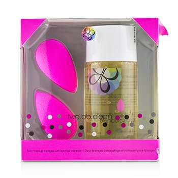Two BB Clean Kit (2x BeautyBlender, 1x Liquid BlenderCleanser 150ml/5oz)  3pcs