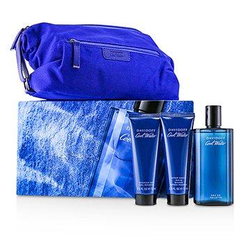 Coolwater Coffret: Eau De Toilette Spray 125ml/4.2oz + After Shave Balm 75ml/2.5oz + Shower Gel 75ml/2.5oz + Navy Toilet Bag  3pcs+Bag