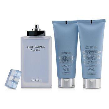 Light Blue Eau Intense Coffret: Eau De Parfum Spray 100ml/3.3oz + Refreshing Body Cream 100ml/3.3oz + Energy Body Bath & Shower Gel 100ml/3.3oz  3pcs