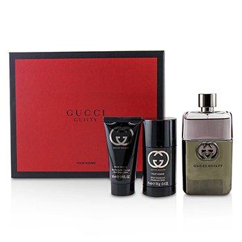 Guilty Pour Homme Coffret: Eau De Toilette Spray 90ml + Deodorant Stick 75ml + After Shave Balm 50ml  3pcs