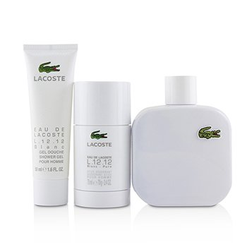 Eau De Lacoste L.12.12 Blanc Coffret: Eau De Toilette Spray 100ml/3.3oz + Deodorant Stick 75ml/2.4oz + Shower Gel 50ml/1.6oz  3pcs
