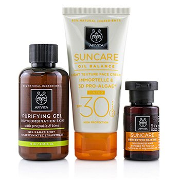 Suncare Set: Suncare Oil Balance Face Cream SPF30 - Tint 50ml + Purifying Gel 75ml + Protective Hair Oil  3pcs+1bag