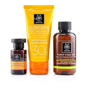 Suncare Set: Oil Balance Face Cream SPF30 50ml + Purifying Gel 75ml + Protective Hair Oil 20ml  3pcs+1bag