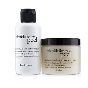 The Microdelivery Peel: Lactic/Salicylic Acid Activating Gel 118ml + Vitamin C/Peptide Resurfacing Crystals  2pcs