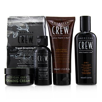 Travel Grooming Kit: 3-in-1 Shampoo, Conditioner & Shower Gel 100ml+Shave Cream 50ml+Styling Gel 100ml+Foaming Cream50g  4pcs+1bag