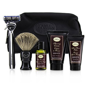 The Four Elements of The Perfect Shave Set with Bag - Sandalwood: Pre Shave Oil + Shave Crm + A/S Balm + Brush + Razor  5pcs+1Bag
