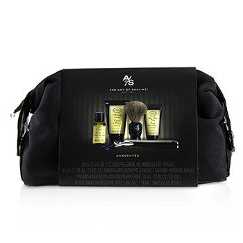 The Four Elements of The Perfect Shave Set with Bag - Unscented: Pre Shave Oil + Shave Crm + A/S Balm + Brush + Razor  5pcs+1Bag