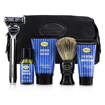 The Four Elements of The Perfect Shave Set with Bag - Lavender: Pre Shave Oil + Shave Crm + A/S Balm + Brush + Razor  5pcs+1Bag