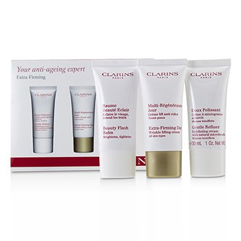 Extra-Firming 40+ Anti-Ageing Skincare Set:Gentle Refiner 30ml +Extra-Firming Day Cream 30ml+ Beauty Flash Balm 30ml  3pcs