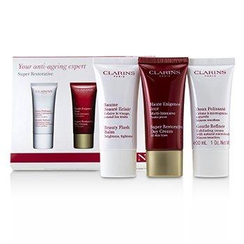Super Restorative 50+ Anti-Ageing Skincare Set: Gentle Refiner 30ml+Super Restorative Day Cream 30ml+Beauty Flash Balm 30ml  3pcs
