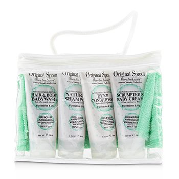 Deluxe Travel Kit: 1x Hair & Body Wash +1x Shampoo 30ml+ 1x Conditioner +1x Baby Cream +1x Washcloth (For Babies & Up  5pcs