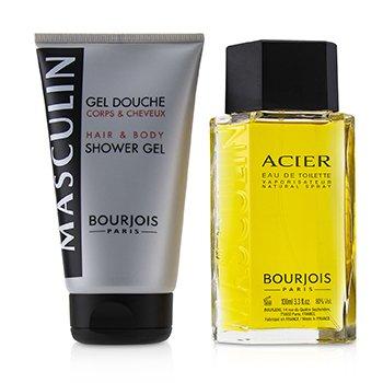 Masculin Coffret: Acier Eau De Toilette Spray 100ml+Hair & Body Shower Gel 150ml/5oz  2pcs