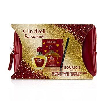 Passionnee Coffret: Eau De Toilette Spray 75ml + Khol & Contour Eyeliner Pencil - #001 Noir-Issime 1.2g/0.04oz + Glossy Bag  2pcs+1Bag
