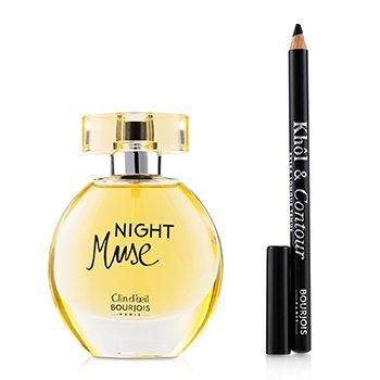 Night Muse Coffret: Eau De Parfum Spray 50ml/1.6oz + Khol & Contour Eyeliner Pencil - #001 Noir-Issime 1.2g/0.04oz + Glossy Bag  2pcs+1Bag