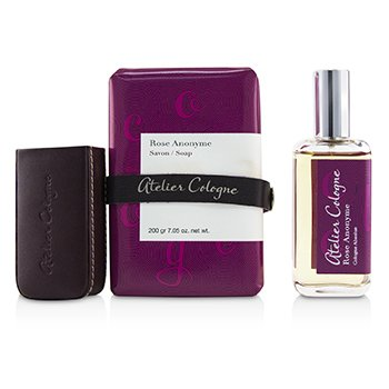 Rose Anonyme Coffret: Cologne Absolue Spray 30ml/1oz + Soap 200g/7.05oz + Leather Case (Box Slightly Damaged)  3pcs