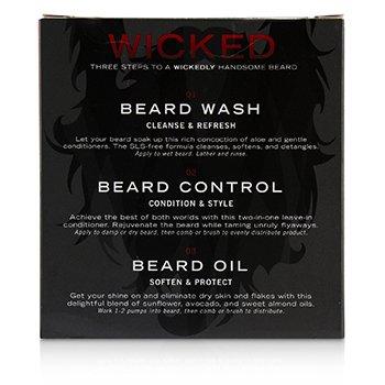 Wicked Beard Care Trio Set : 1x Beard Wash 60ml + 1x Beard Control 60ml + 1x Beard Oil 60ml  3pcs