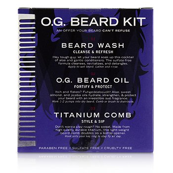 O.G. Beard Care Trio Set : 1x Beard Wash 60ml + 1x Beard Oil 60ml + 1x Titanium Comb  3pcs