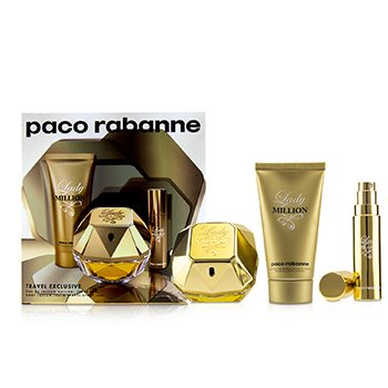 Lady Million Coffret: Eau De Parfum Spray 80ml/2.7oz + Sensual Body Lotion 75ml/2.5oz + Eau De Parfum Travel Spray 10ml/0.34oz 3pcs