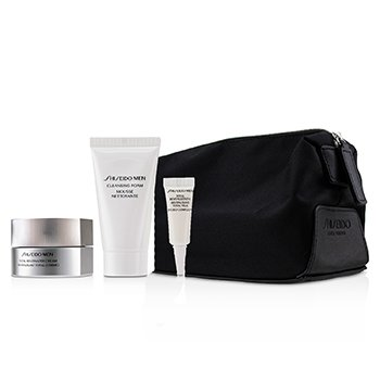 Men Total Age-Defense Program Set: 1xTotal Revitalizer Cream 50ml+1xCleansing Foam 30ml+1xTotal Revitalizer Eye 3ml+1xPouch  4pcs
