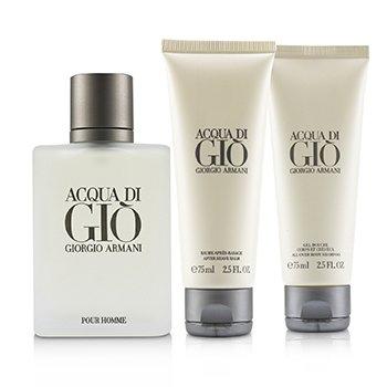 Acqua Di Gio Coffret: Eau De Toilette Spray 100ml/3.4oz + All Over Bod Shampoo 75ml/2.5oz + After Shave Balm 75ml/2.5oz  3pcs