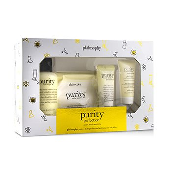 Purity Made Simple Purity Perfection Set: 1x Cleanser 120ml + 1x Moisturizer 15ml + 1x Cleansing Cloths 15pcs + Clay Mask 30ml  4pcs
