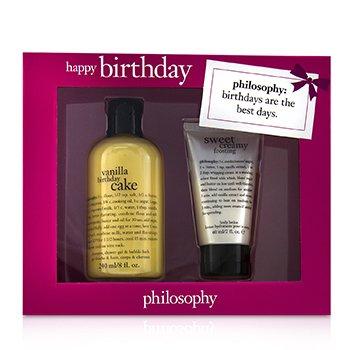 Happy Birthday 2-Piece Vanilla Birthday Cake Set  60ml/2oz