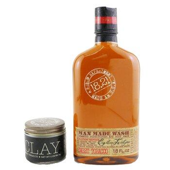 Man Made Wash & Clay Set - # Sweet Tobacco: 1x Shampoo, Conditioner & Body Wash 530ml + 1x Hair Clay 56.7g  2pcs