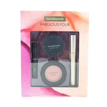 Fabulous Four Full Size Makeup Essentials Set (1x Mineral Veil Finishing Powder, 1x Blush, 1x Lipstick, 1x Mascara)  4pcs