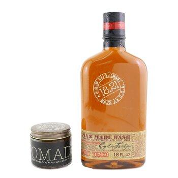 Man Made Wash & Pomade Set - # Sweet Tobacco: 1x Shampoo, Conditioner & Body Wash 530ml + 1x Hair Pomade 56.7g  2pcs