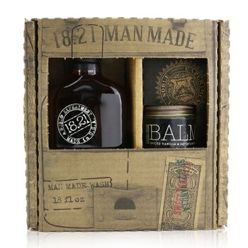 Man Made Wash & Balm Set - # Spiced Vanilla: 1x Shampoo, Conditioner & Body Wash 530ml + 1x Beard Balm 56.7g  2pcs