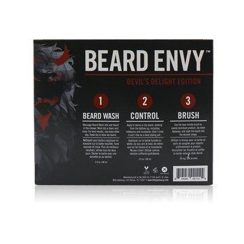 Devil's Delight Beard Envy Kit: 1x Beard Wash 88ml + 1x Leave-In Control 88ml + 1x Beard Brush  3pcs