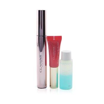 Wonder Perfect Mascara 4D Look Set: Mascara 8ml + Instant Eye Make Up Remover 10ml + Lip Protector 5ml  3pcs