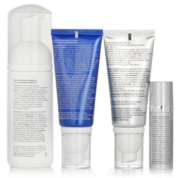 مجموعة ترميم Skin Active: غسول مقشر + مرمم غشاء البشرة SPF 30 + مرمم خلوي + علاج عيون مكثف  4pcs