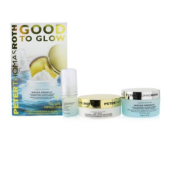 Good To Glow 3-Piece Hydration & Glow Kit : 24K Gold Eye Patches 15pairs+Hyaluronic Cloud Serum 15ml+Hydrating Moisturizer 50ml  3pcs