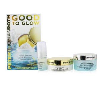 Kit Good To Glow 3-Piece Hidratación & Brillo: Parches de Ojos Dorados 24K 15 pares + Suero Nube Hialurónico 15ml + Hidratante 50ml  3pcs