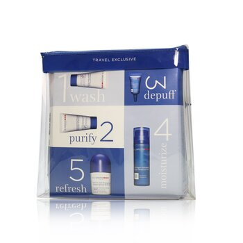 Men Grooming Essentials For Men Travel Exclusive Kit: Moisture Gel 50ml + Face Wash 30ml + Eye Serum 3ml + Antiperspirant Roll-On 50ml + Shampoo & Shower 30ml  5pcs+1bag