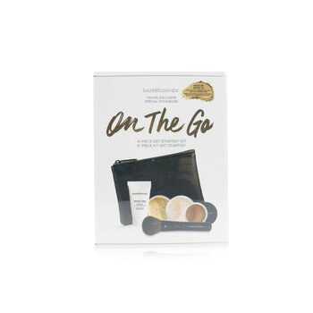 On The Go 6 Piece Get Started Kit (1x Primer, 1x Foundation 1x Mineral Veil, 1x All Over Face Color...)  5pcs+1clutch