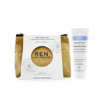 Rosa Centifolia Cleanse & Reveal Starter Kit: Hot Cloth Cleanser 100ml + 100% Unbleached Cotton Cloths 2pcs  3pcs