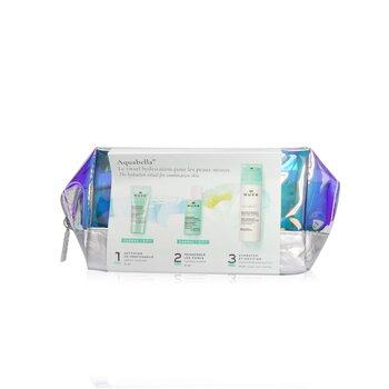 Aquabella Hydration Set (For Combination Skin): Purifying Gel 15ml + Essence-Lotion 35ml + Moisturising Emulsion 50ml  3pcs+1bag