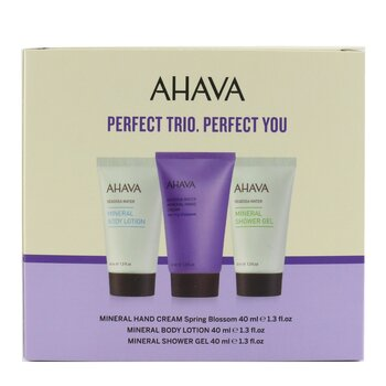 Deadsea Water Perfect Mineral Body Trio Set: Hand Cream 40ml + Body Lotion 40ml + Shower Gel 40ml  3pcs