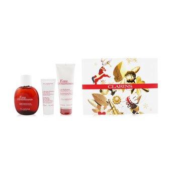 Eau Dynamisante Coffret: Fragrance Spray 100ml/3.3oz + Moisturizing Body Lotion 100ml/3.5oz + Exfoliating Body Scrub For Smooth Skin 30ml/1oz + Pouch  3pcs+Pouch