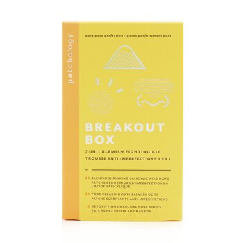 Breakout Box 3-IN-1 Blemish Fighting Kit: Blemish Shrinking Dots, Ant-Blemish Dots, Charcoal Nose Strips, Storage Sachets For Dots -