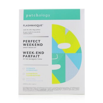 FlashMasque 5 Minute Sheet Mask - Perfect Weekend Sheet Mask Kit: (Hydrate, Illuminate, Milk Peel)  3pcs