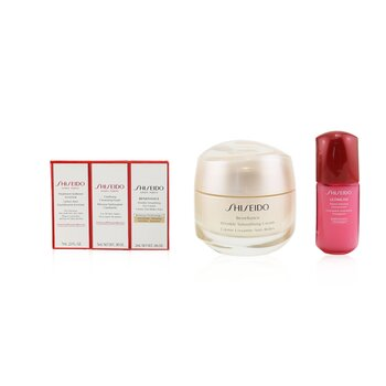 Anti-Wrinkle Ritual Benefiance Wrinkle Smoothing Cream Set (For All Skin Types): Wrinkle Smoothing Cream 50ml + Cleansing Foam 5ml + Softener Enriched 7ml + Ultimune Concentrate 10ml + Wrinkle Smoothing Eye Cream 2ml  5pcs+1pouch