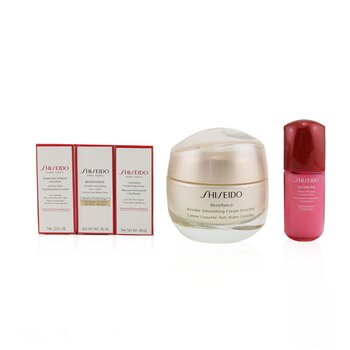 Anti-Wrinkle Ritual Benefiance Wrinkle Smoothing Cream Enriched Set (For Dry Skin): Wrinkle Smoothing Cream Enriched 50ml + Cleansing Foam 5ml + Softener Enriched 7ml + Ultimune Concentrate 10ml + Wrinkle Smoothing Eye Cream 2ml - סט לעור יבש  5pcs+1pouch
