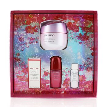 Beauty Blossoms White Lucent Brightening Gel Cream Set: Brightening Gel Cream 50ml + Cleansing Foam 5ml + Softener Enriched 7ml + Ultimune Concentrate 10ml  4pcs