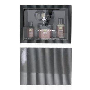 4 Elements Shaving Full Size Kit - Sandalwood: Pre-Shave Oil 60ml + Shaving Cream 150ml + After-Shave Balm 100ml + Genuine Badger Brush  4pcs