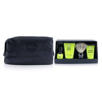 The Four Elements of The Perfect Shave Set with Bag - Bergamot & Neroli : Pre Shave Oil + Shave Crm + A/S Balm + Brush + Razor  5pcs+1Bag