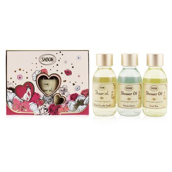 Shower Oil Trio Kit: Patchouli Lavender & Vanilla 100ml + Delicate Jasmine 100ml + Green Rose 100ml  3x100ml/3.38oz